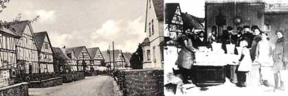 Hauptstraße und Dorfbrunnen früher